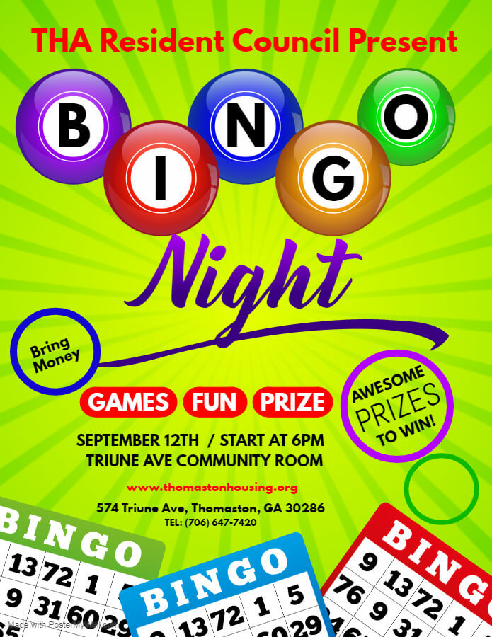 Resident Council Bingo Night Flyer