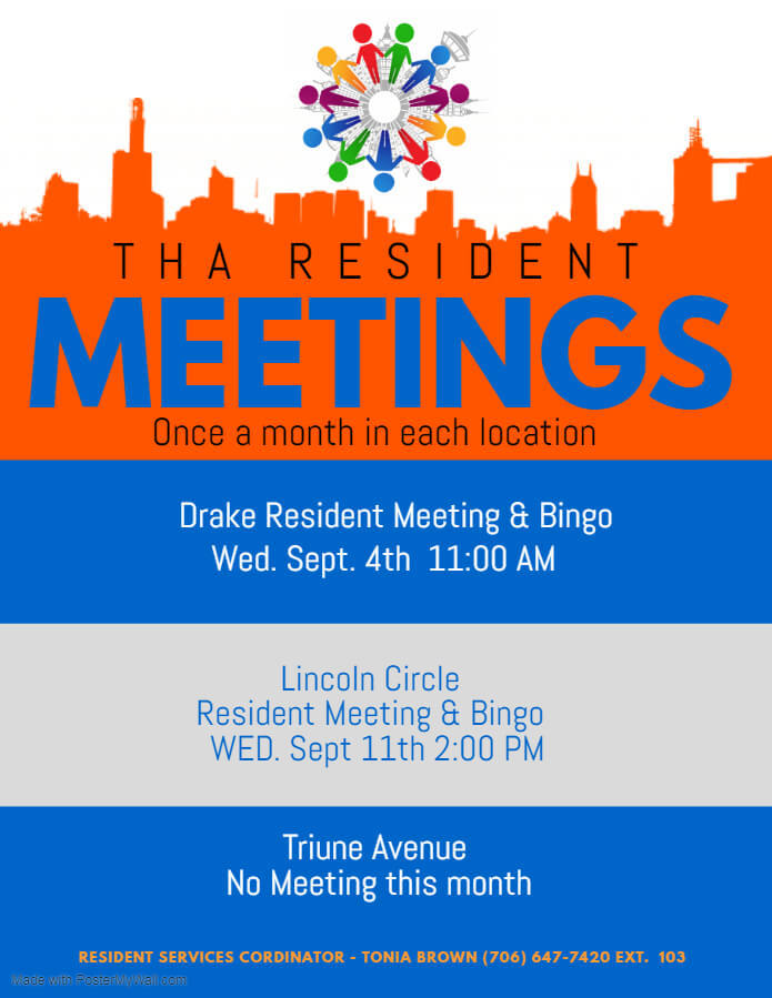 Resident Meeting flyer
